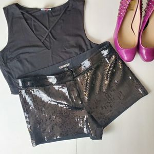 EXPRESS Sequined Black Shorts Size 4